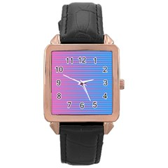 Turquoise Pink Stripe Light Blue Rose Gold Leather Watch