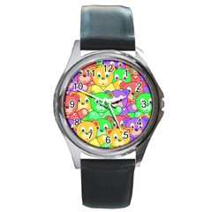 Cute Cartoon Crowd Of Colourful Kids Bears Round Metal Watch