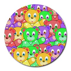 Cute Cartoon Crowd Of Colourful Kids Bears Round Mousepads