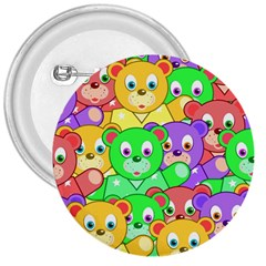Cute Cartoon Crowd Of Colourful Kids Bears 3  Buttons by Nexatart