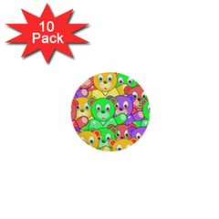 Cute Cartoon Crowd Of Colourful Kids Bears 1  Mini Buttons (10 Pack)