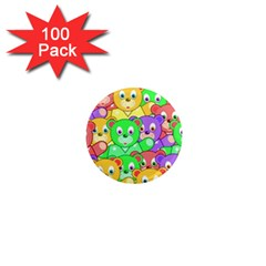 Cute Cartoon Crowd Of Colourful Kids Bears 1  Mini Magnets (100 Pack)