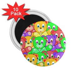 Cute Cartoon Crowd Of Colourful Kids Bears 2 25  Magnets (10 Pack)  by Nexatart