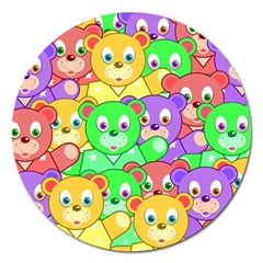 Cute Cartoon Crowd Of Colourful Kids Bears Magnet 5  (round) by Nexatart