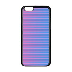 Turquoise Pink Stripe Light Blue Apple Iphone 6/6s Black Enamel Case by Mariart