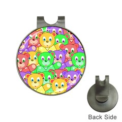 Cute Cartoon Crowd Of Colourful Kids Bears Hat Clips With Golf Markers by Nexatart