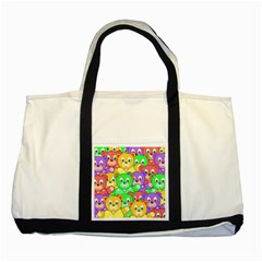 Cute Cartoon Crowd Of Colourful Kids Bears Two Tone Tote Bag