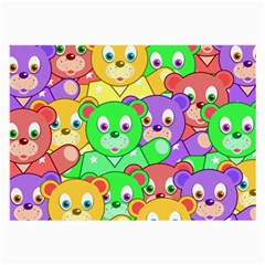 Cute Cartoon Crowd Of Colourful Kids Bears Large Glasses Cloth (2 Side) by Nexatart