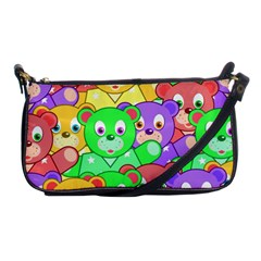 Cute Cartoon Crowd Of Colourful Kids Bears Shoulder Clutch Bags by Nexatart