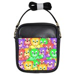 Cute Cartoon Crowd Of Colourful Kids Bears Girls Sling Bags Front