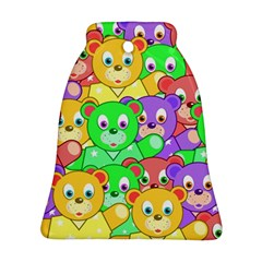 Cute Cartoon Crowd Of Colourful Kids Bears Bell Ornament (two Sides) by Nexatart