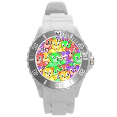 Cute Cartoon Crowd Of Colourful Kids Bears Round Plastic Sport Watch (l) by Nexatart