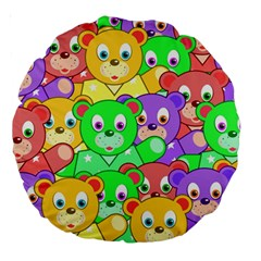 Cute Cartoon Crowd Of Colourful Kids Bears Large 18  Premium Round Cushions by Nexatart