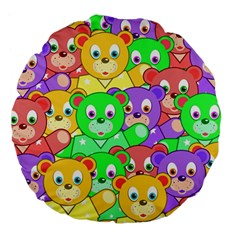 Cute Cartoon Crowd Of Colourful Kids Bears Large 18  Premium Flano Round Cushions by Nexatart