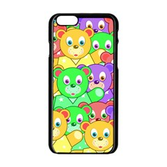 Cute Cartoon Crowd Of Colourful Kids Bears Apple Iphone 6/6s Black Enamel Case by Nexatart