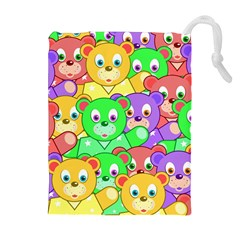 Cute Cartoon Crowd Of Colourful Kids Bears Drawstring Pouches (extra Large)