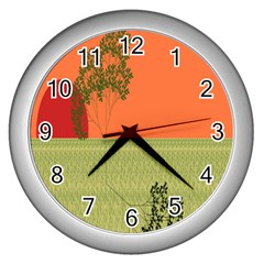 Sunset Orange Green Tree Sun Red Polka Wall Clocks (silver)  by Mariart