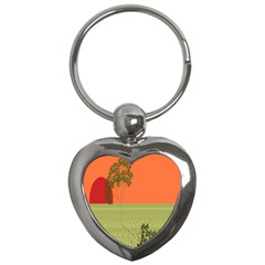 Sunset Orange Green Tree Sun Red Polka Key Chains (heart)  by Mariart
