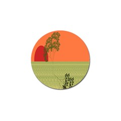 Sunset Orange Green Tree Sun Red Polka Golf Ball Marker by Mariart