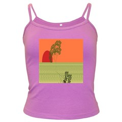 Sunset Orange Green Tree Sun Red Polka Dark Spaghetti Tank by Mariart