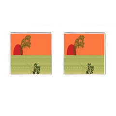 Sunset Orange Green Tree Sun Red Polka Cufflinks (square) by Mariart