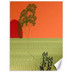 Sunset Orange Green Tree Sun Red Polka Canvas 36  X 48   by Mariart