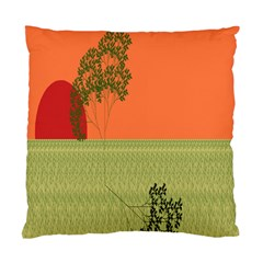 Sunset Orange Green Tree Sun Red Polka Standard Cushion Case (one Side) by Mariart