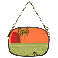 Sunset Orange Green Tree Sun Red Polka Chain Purses (two Sides)