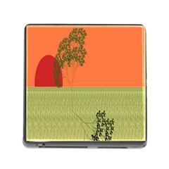 Sunset Orange Green Tree Sun Red Polka Memory Card Reader (square) by Mariart