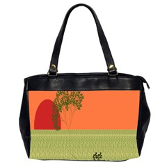 Sunset Orange Green Tree Sun Red Polka Office Handbags (2 Sides)  by Mariart