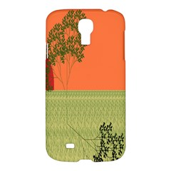 Sunset Orange Green Tree Sun Red Polka Samsung Galaxy S4 I9500/i9505 Hardshell Case by Mariart