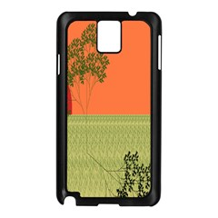 Sunset Orange Green Tree Sun Red Polka Samsung Galaxy Note 3 N9005 Case (black) by Mariart