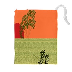 Sunset Orange Green Tree Sun Red Polka Drawstring Pouches (extra Large) by Mariart