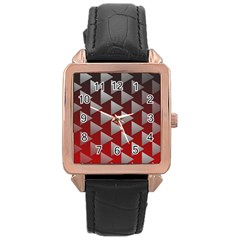 Netflix Play Button Pattern Rose Gold Leather Watch