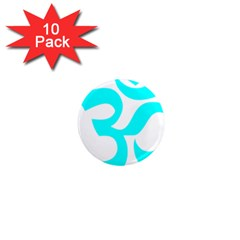 Hindu Om Symbol (cyan) 1  Mini Magnet (10 Pack)  by abbeyz71