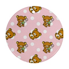 Kawaii Bear Pattern Ornament (round) by Nexatart
