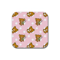Kawaii Bear Pattern Rubber Coaster (square)
