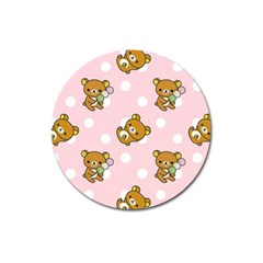 Kawaii Bear Pattern Magnet 3  (round) by Nexatart