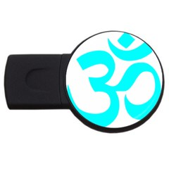 Hindu Om Symbol (cyan) Usb Flash Drive Round (4 Gb) by abbeyz71