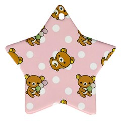 Kawaii Bear Pattern Star Ornament (two Sides)