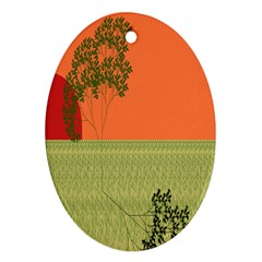 Sunset Orange Green Tree Sun Red Polka Ornament (oval)