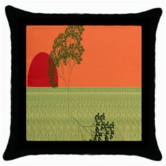 Sunset Orange Green Tree Sun Red Polka Throw Pillow Case (black) by Mariart
