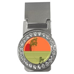 Sunset Orange Green Tree Sun Red Polka Money Clips (cz)  by Mariart