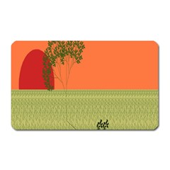 Sunset Orange Green Tree Sun Red Polka Magnet (rectangular) by Mariart