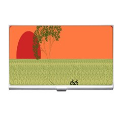 Sunset Orange Green Tree Sun Red Polka Business Card Holders