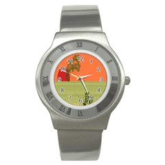 Sunset Orange Green Tree Sun Red Polka Stainless Steel Watch by Mariart