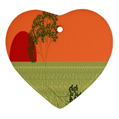 Sunset Orange Green Tree Sun Red Polka Heart Ornament (two Sides) by Mariart