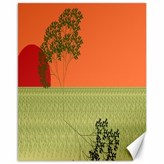 Sunset Orange Green Tree Sun Red Polka Canvas 11  X 14   by Mariart