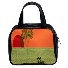 Sunset Orange Green Tree Sun Red Polka Classic Handbags (2 Sides) by Mariart
