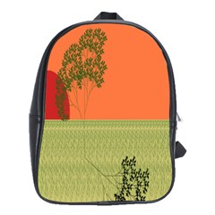 Sunset Orange Green Tree Sun Red Polka School Bags(large)  by Mariart